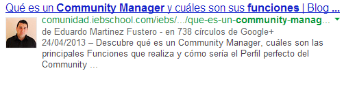 como se muestra author rank en google