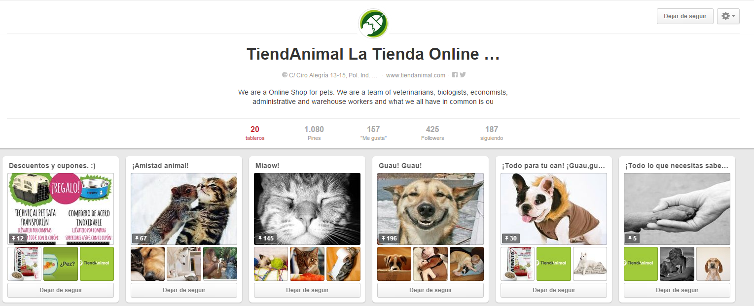 Ideas para sacarle partido a tu e-Commerce en Pinterest - Tienda Animal
