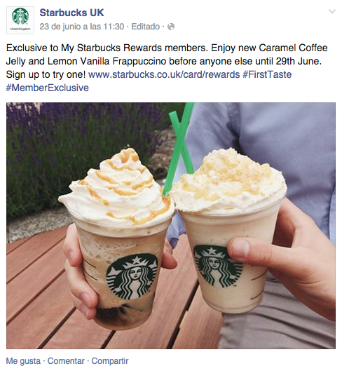 ejemplo starbucks facebook
