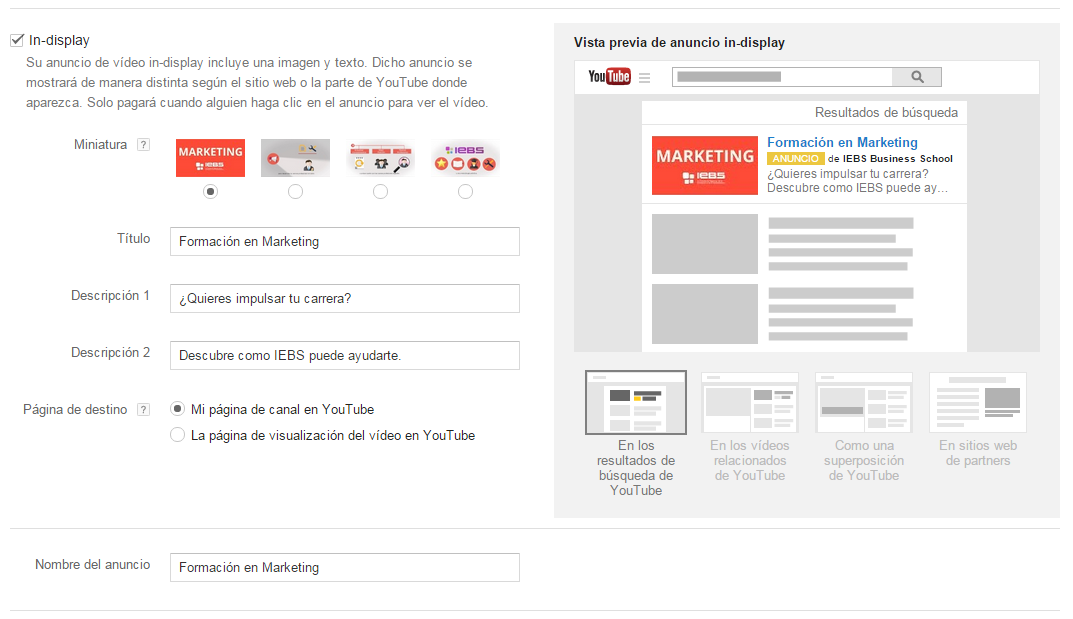 publicidad en youtube in display