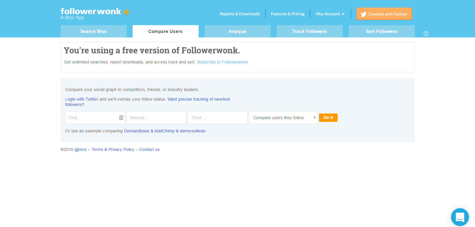 Compare and Analyze Twitter Users Followerwonk