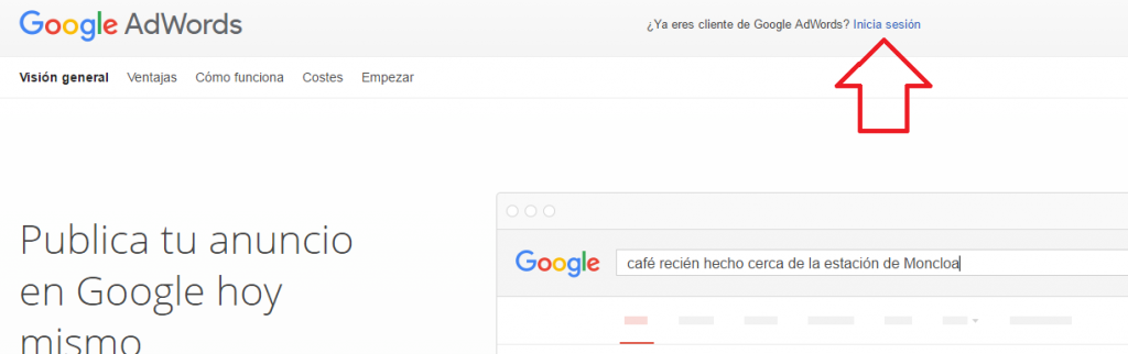 logearse en adwords